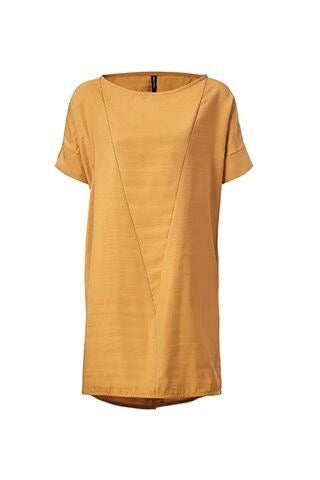 Valentine Tunic by Melow, Ambre, short sleeves, V seams, notched sleeves, sizes XS to XXL, made in Quebec