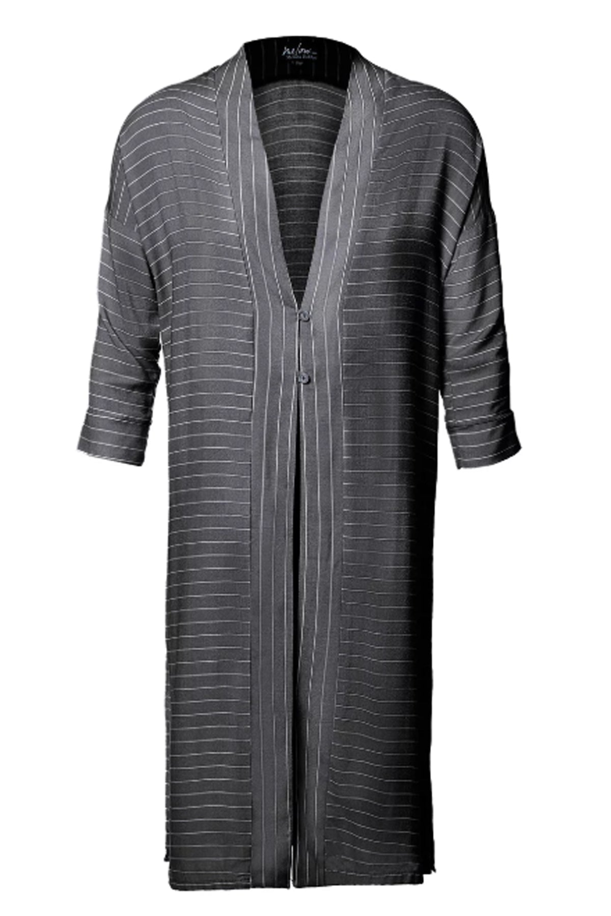 Yan Cardigan by Melow par Melissa Bolduc, long cardigan, two button closure, black stripes, 3/4 sleeves, contrast hem and cuffs, sizes XS-XL, made in Quebec