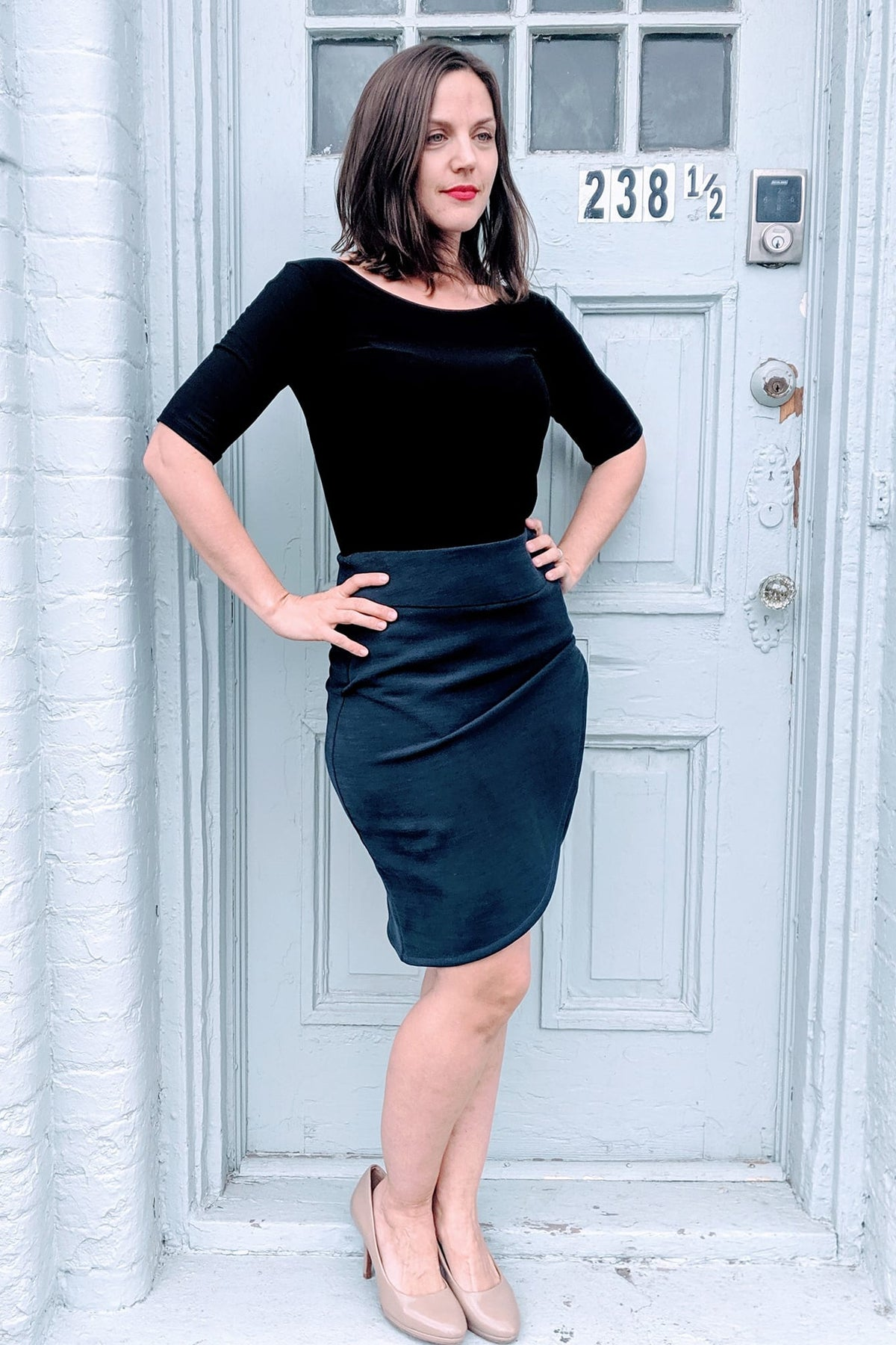 Yecine Skirt by Melow par Melissa Bolduc, Navy, pencil skirt, high waist, faux-wrap skirt, tulip hem, wide waistband, side zipper, sizes 4-14, made in Quebec