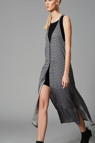 Yoko Dress by Melow par Melissa Bolduc, black stripes, two in one, long dress, V-neck, racer-back, button front, sizes XS-XXL, made in Quebec