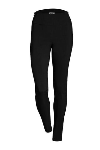 Zenon Pant by Melow par Melissa Bolduc, Black, side zippers at waist, skinny pant, sizes 4-16, made in Quebec