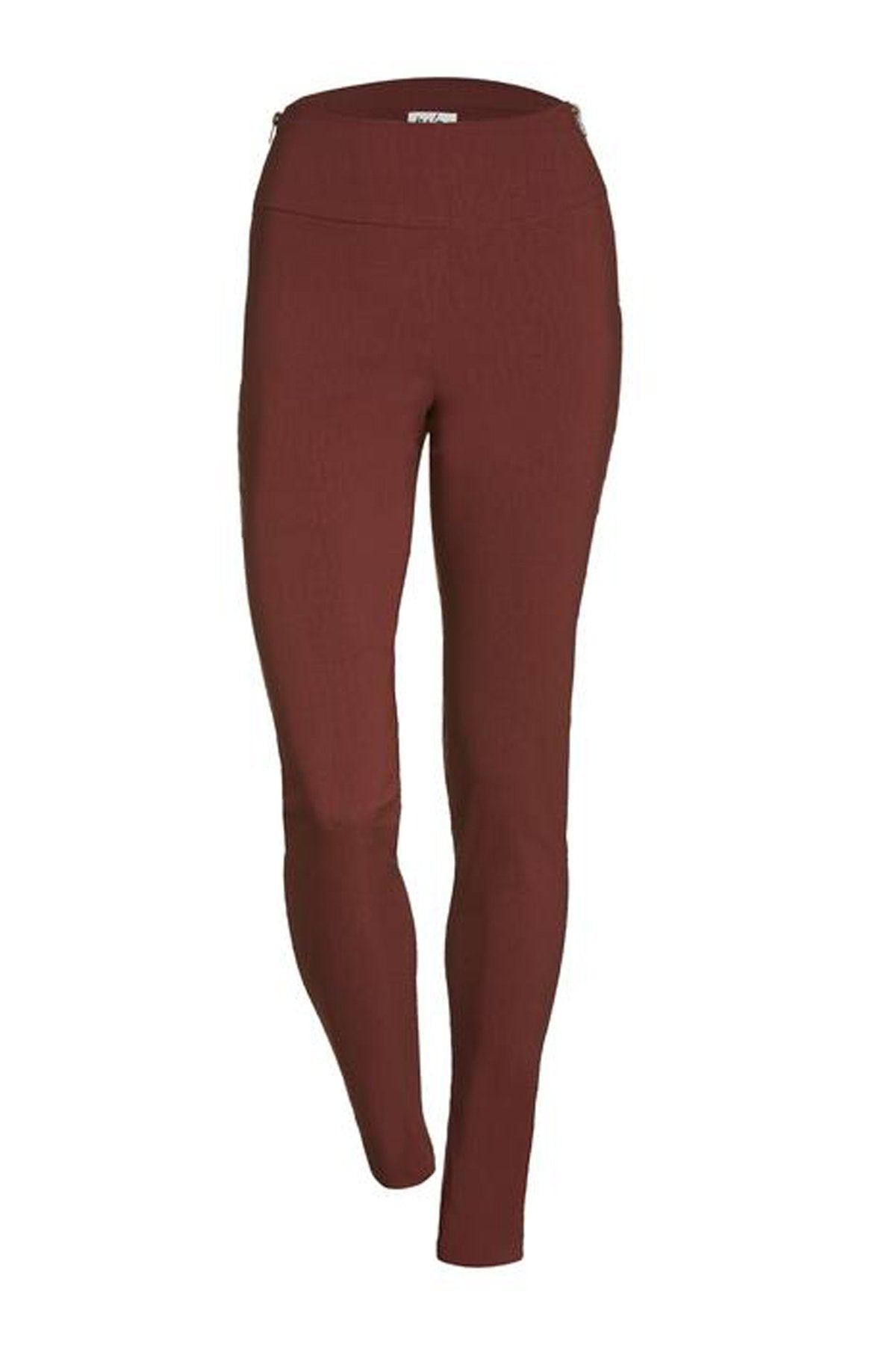 Zenon Pant by Melow par Melissa Bolduc, Rouille, Rust, side zippers at waist, skinny pant, sizes 4-16, made in Quebec