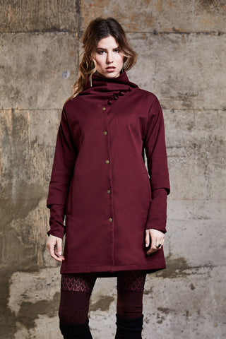 Urbania Jacket by Melow, Crimson, draped neckline, high neck, asymmetrical, sizes XS to XL, made in Montreal