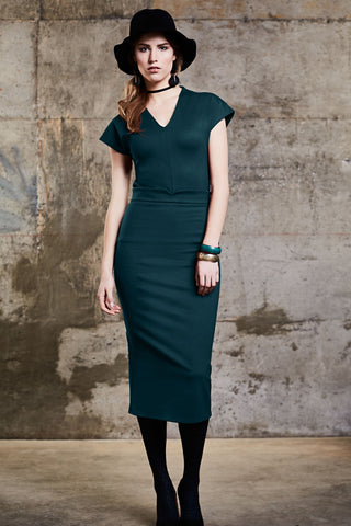 Urbaine Skirt by Melow, Teal, calf-length, fitted, sizes XS to XXL, made in Montreal.
