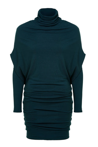 Uriel Dress by Melow, Teal, tunic, double layered, jersey, sizes XS to XXL, made in Montreal.