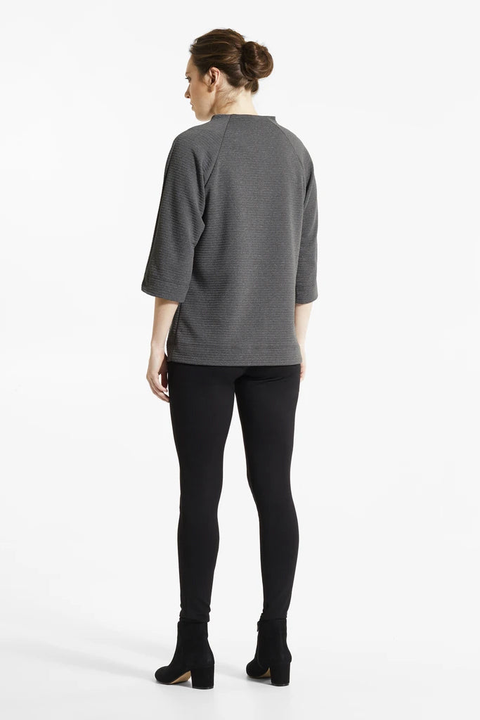 Graphite Mik Tunic, Back view, stand up collar, 3/4 length sleeves, FIG Fall/Winter 2020/2021, Sizes XS - XL