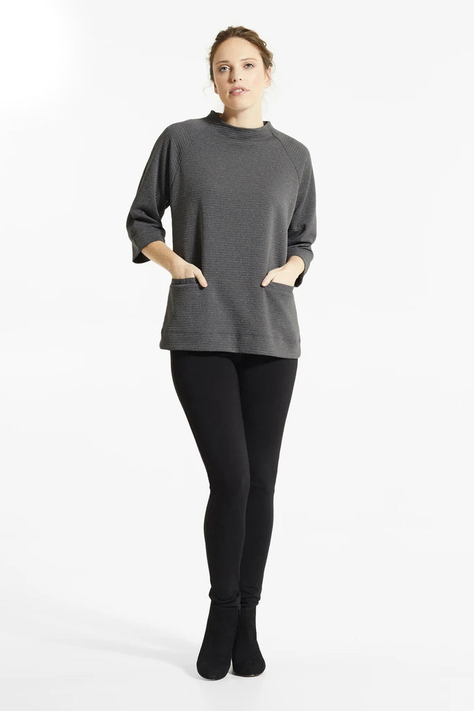 Graphite Mik Tunic, Front view, stand up collar, 3/4 length sleeves, front pockets, FIG Fall/Winter 2020/2021, Sizes XS - XL