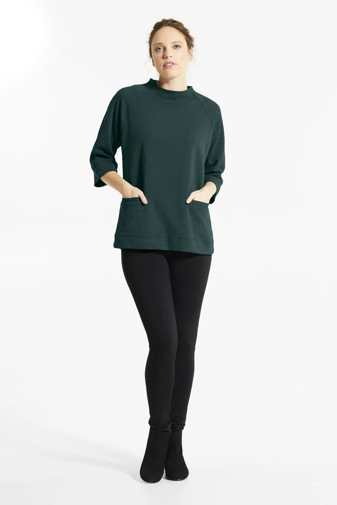 Forest Green Mik Tunic, Front view, stand up collar, 3/4 length sleeves, front pockets, FIG Fall/Winter 2020/2021, Sizes XS - XL