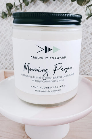 Morning Person candle by Arrow It Forward in a reusable glass jar
