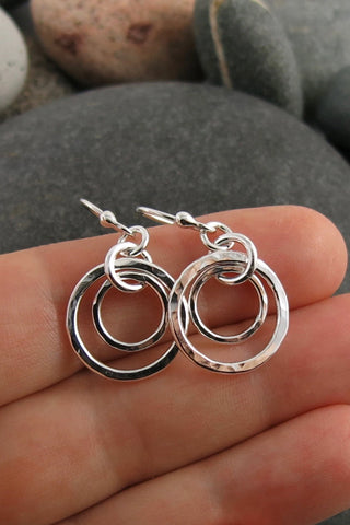 Nesting Duo Circle Earrings • Hammer Textured Sterling Silver