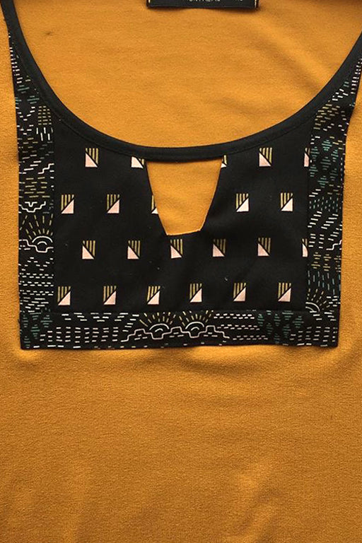 Orvieto Top by Kazak, Mustard, patterned cotton inset detail