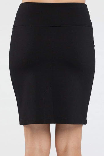 Dylan Skirt by Kollontai, Black, back view, pencil skirt, double knit, wide waistband, slit at the back, sizes XS to XL, made in Montreal
