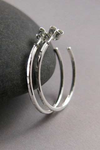 Open Hoop Stud Earrings • Hammer Textured Sterling Silver Hoops