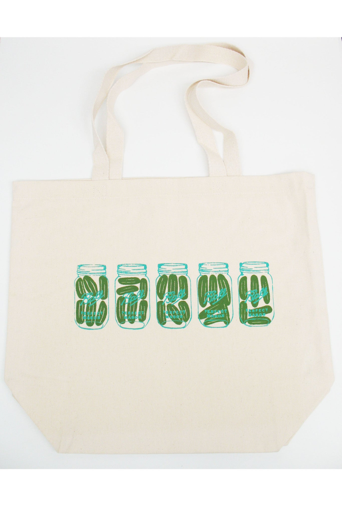 Pickle Mason Jars Tote bag Hand silkscreened in Ottawa Canada