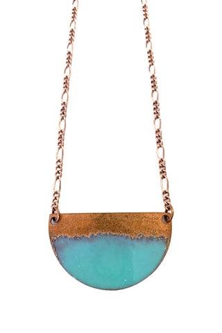 Half moon Copper Enamel Necklace