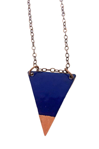 Dipped Triangle  Royal blue Enamel Necklace