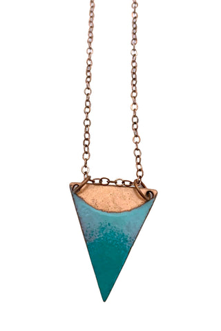 Crescent Triangle Teal/Aqua Copper Necklace