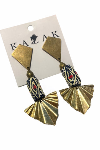 Alexandria African Bead and Raw Brass Earrings