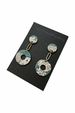 Faux Jade translucent and white  polymer clay and brass donut dangle studs