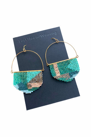 Miriam Beaded Earrings - Teal - MADE TO ORDER