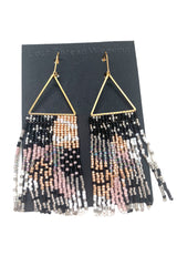 Val Fringe Earrings - Black Cream Pink Silver Gold