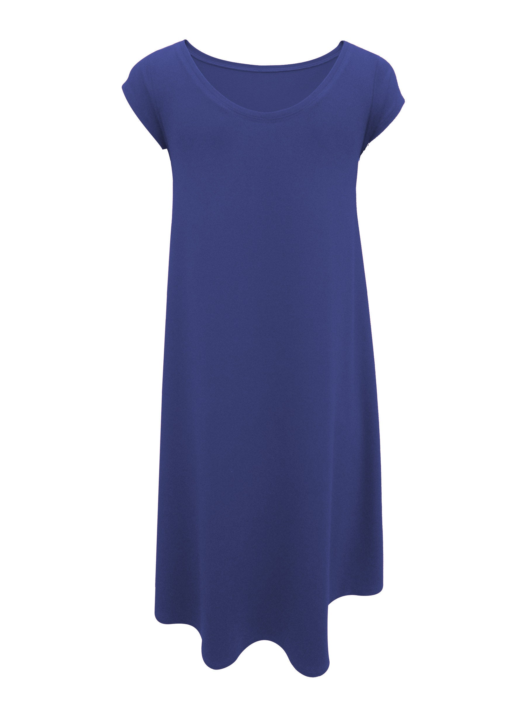 Hyda Dress by Moovment, Blueberry, back view, short sleeves, round neck, scooped neck at back, high-low hemline, bamboo, sizes XS to XXL, made in Quebec