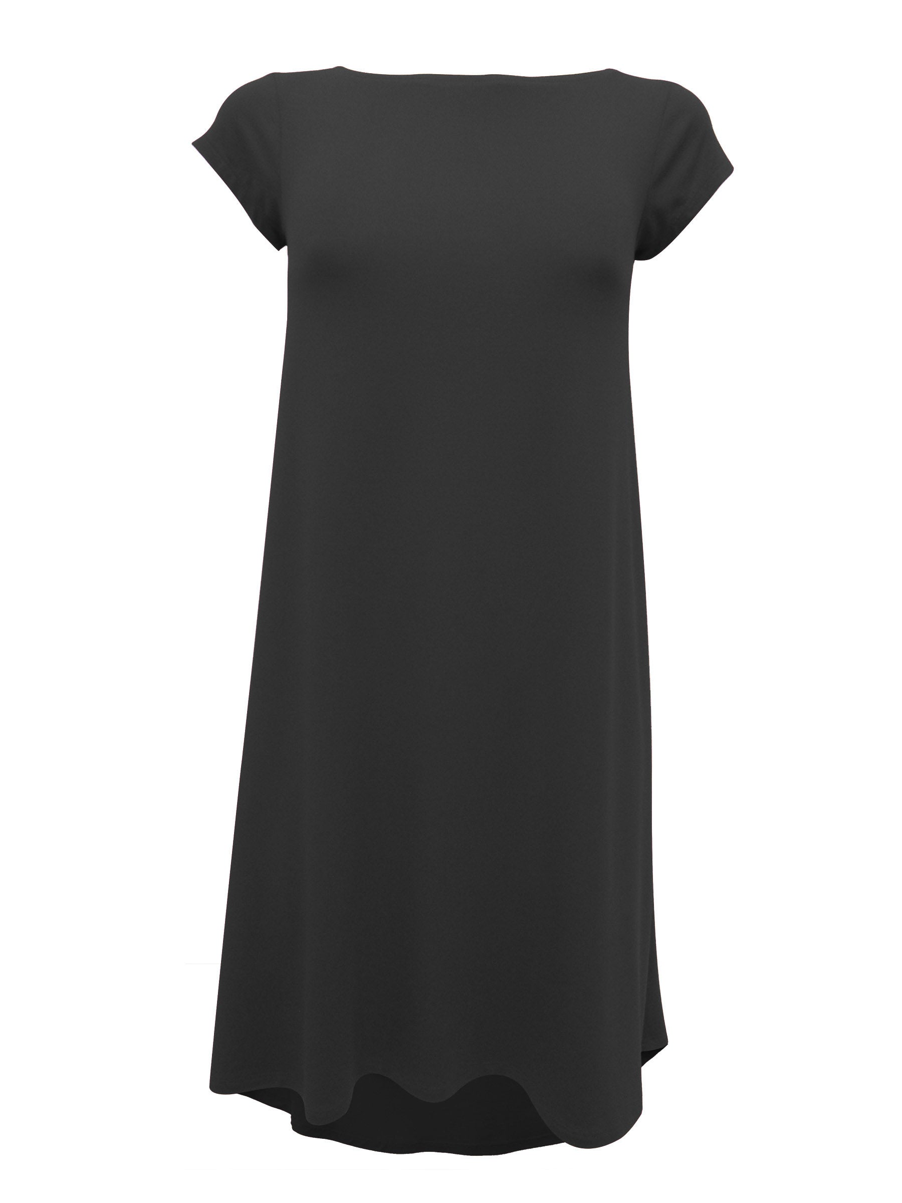 Hyda Dress by Moovment, Black, short sleeves, round neck, scooped neck at back, high-low hemline, bamboo, sizes XS to XXL, made in Quebec