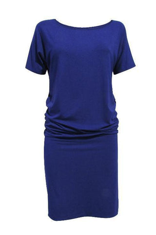 Helene Dress by Moovment, Blueberry, short Dolman sleeves, boat neck, loose top, fitted bottom, bamboo viscose, sizes XS to XXL, made in Quebec