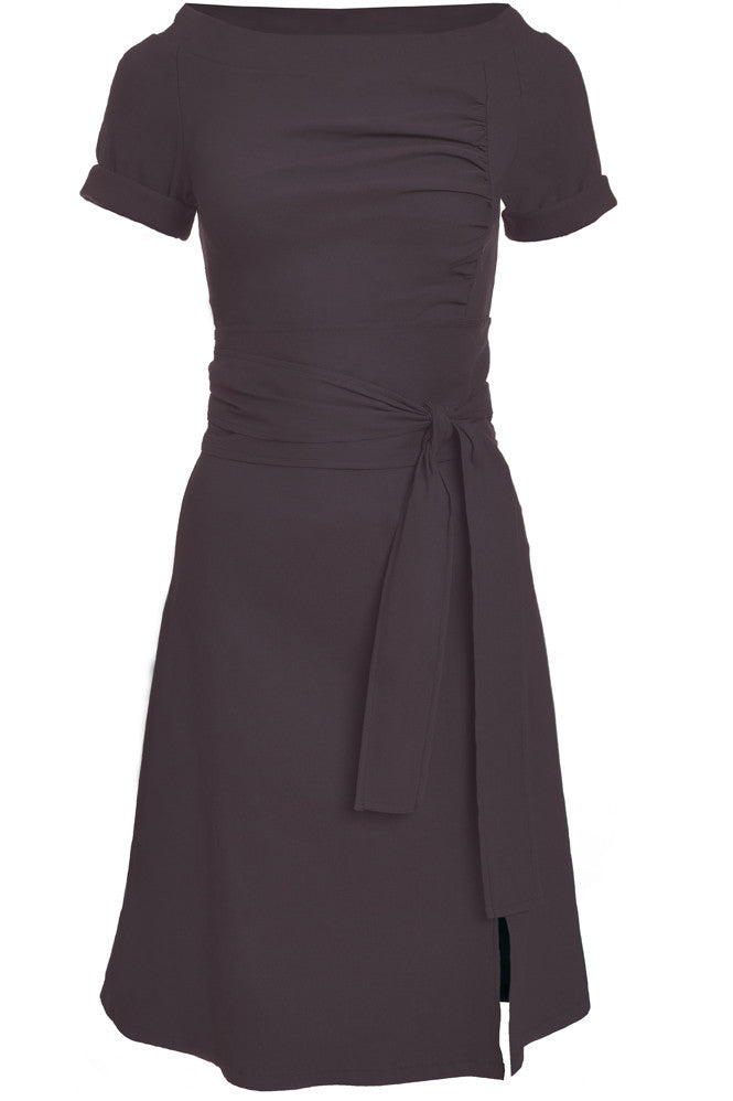 melow, mode montreal, made in montreal, ramona dress, front view, graphite