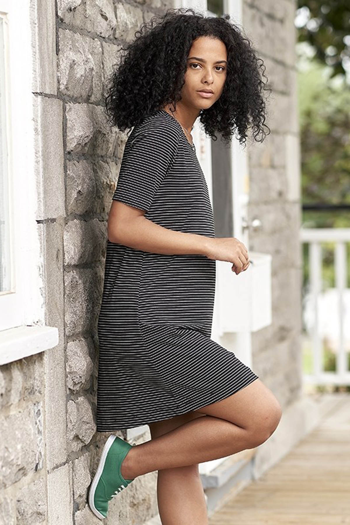 Finesse Dress by Rien ne se Perd, black and white horizontal stripe, T-shirt dress, short sleeves, sizes XS to XXL, made in Quebec