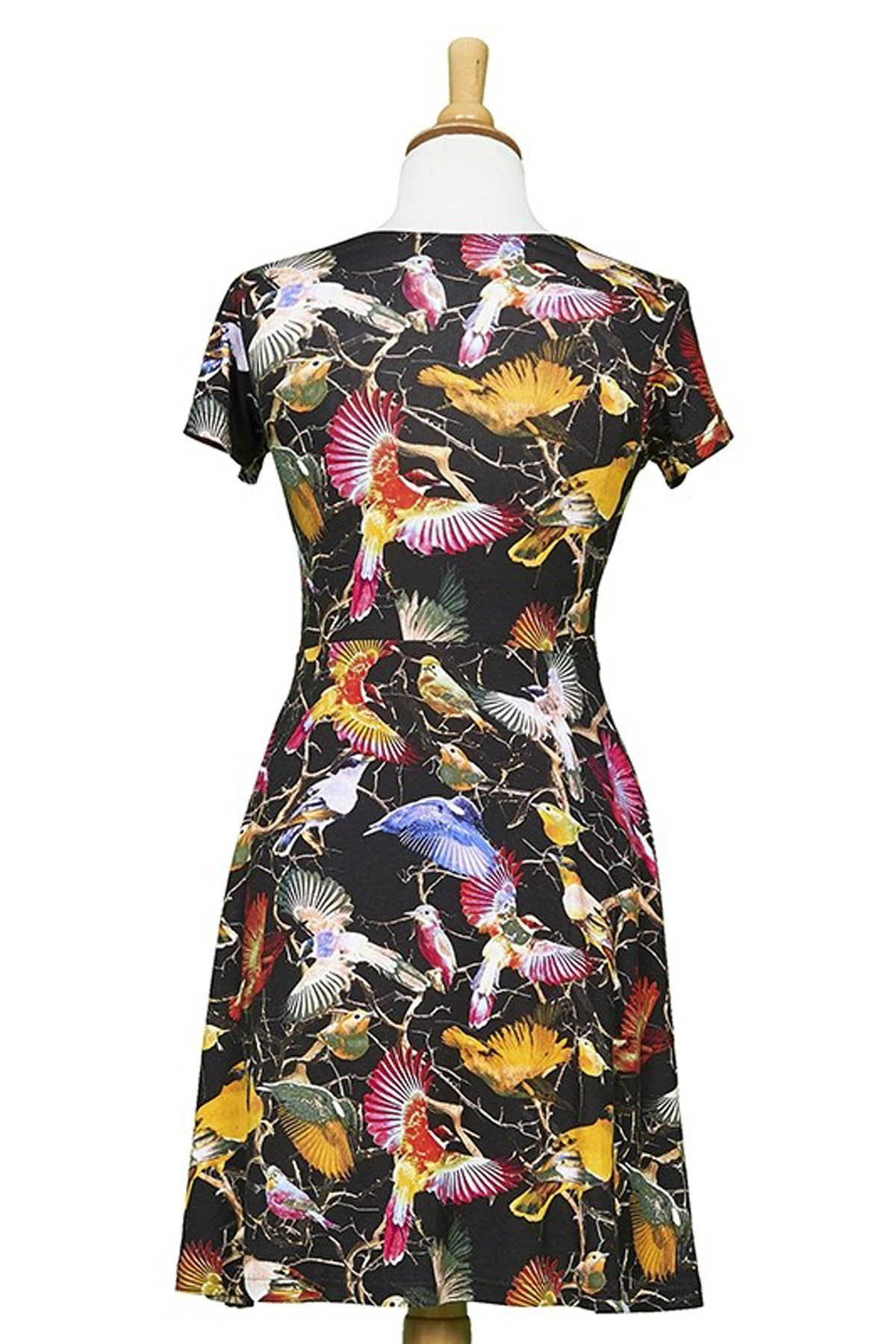 Manhattan Dress by Rien ne se Perd Tout se Cree, back view, multicolour hummingbird print, short sleeves, scoop neck, A-line, lightweight knit, sizes XS-XXL, made in Quebec