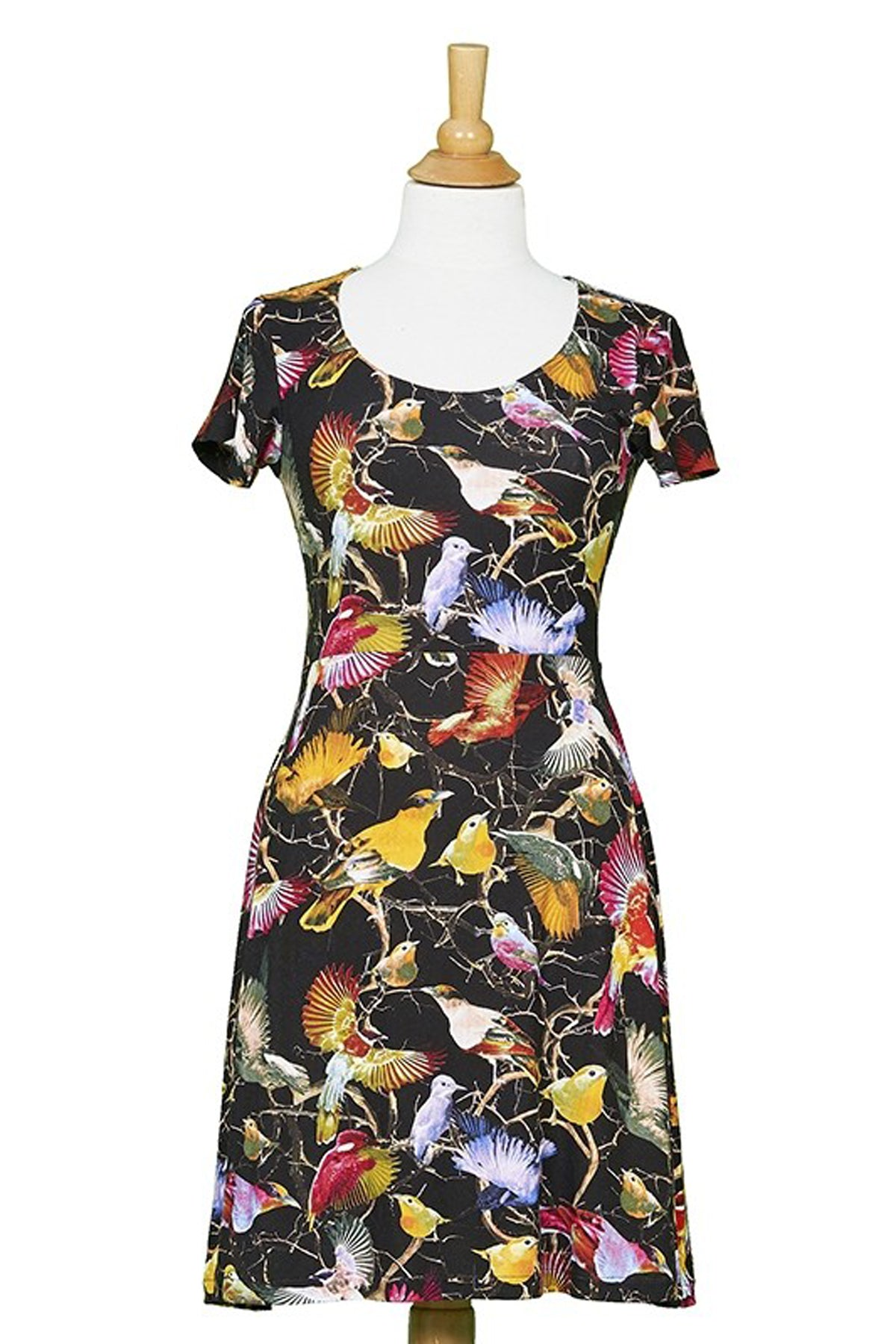 Manhattan Dress by Rien ne se Perd Tout se Cree, multicolour hummingbird print, short sleeves, scoop neck, A-line, lightweight knit, sizes XS-XXL, made in Quebec