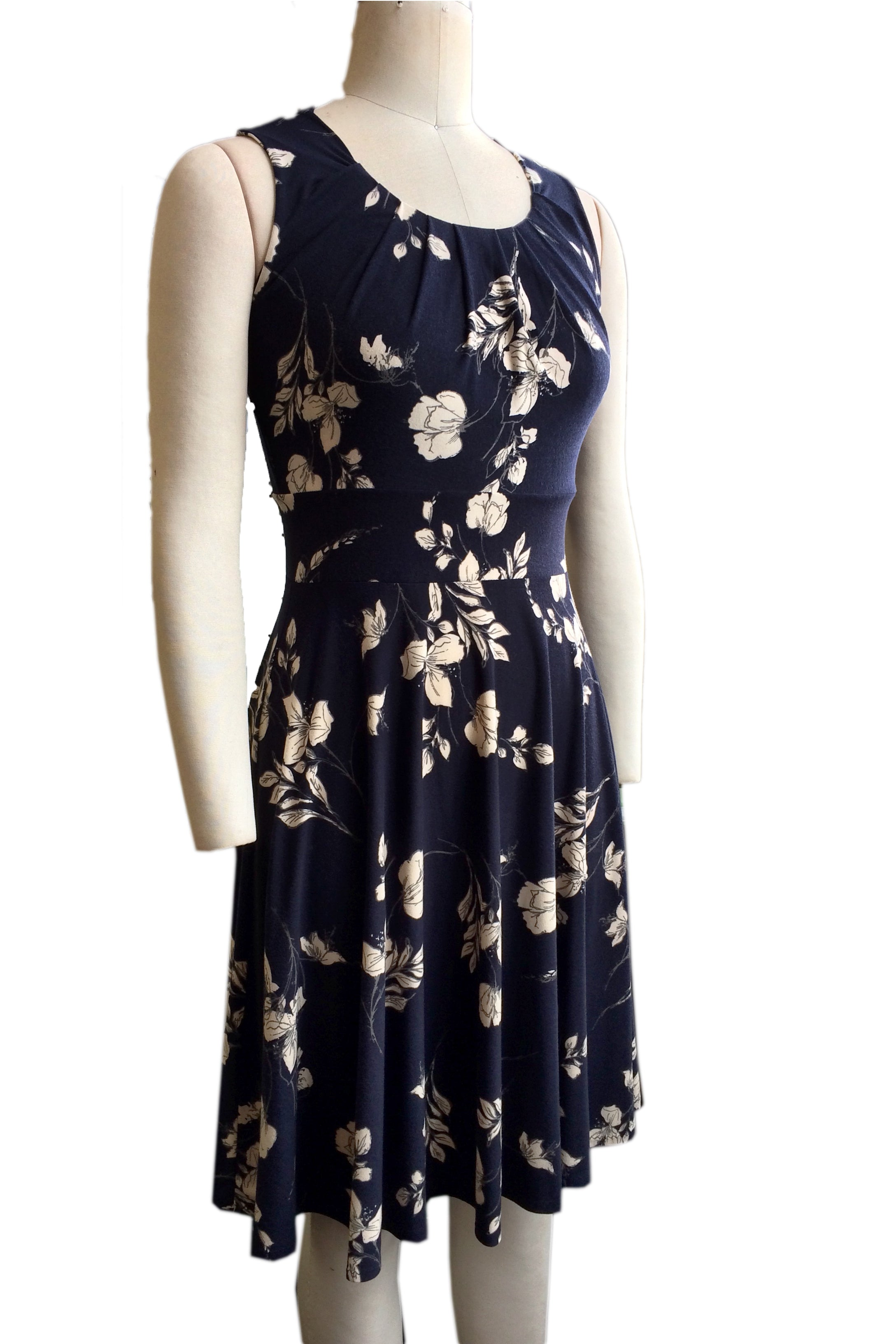 Rio Dress by Hericher, Navy Floral, gathered scoop neck, wide waistband, sleeveless, fit and flare shape, sizes XS to XL, made in Quebec