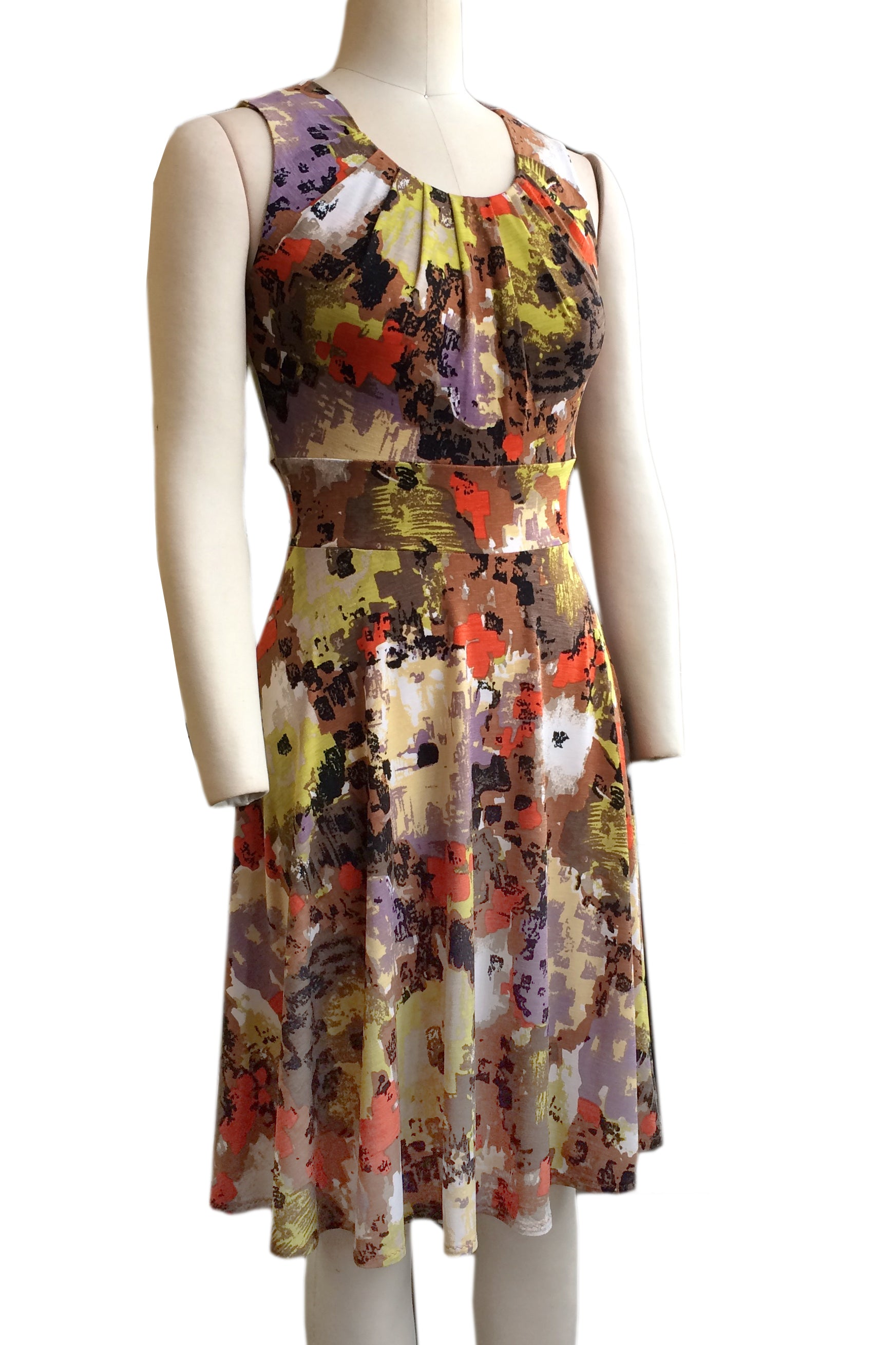 Rio Dress by Hericher, Monet, gathered scoop neck, wide waistband, sleeveless, fit and flare shape, sizes XS to XL, made in Quebec