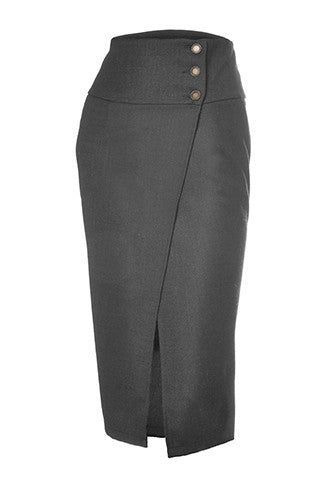 Salome skirt by melow, wrap midi skirt in grey wool blend, made in Montreal, mode montreal