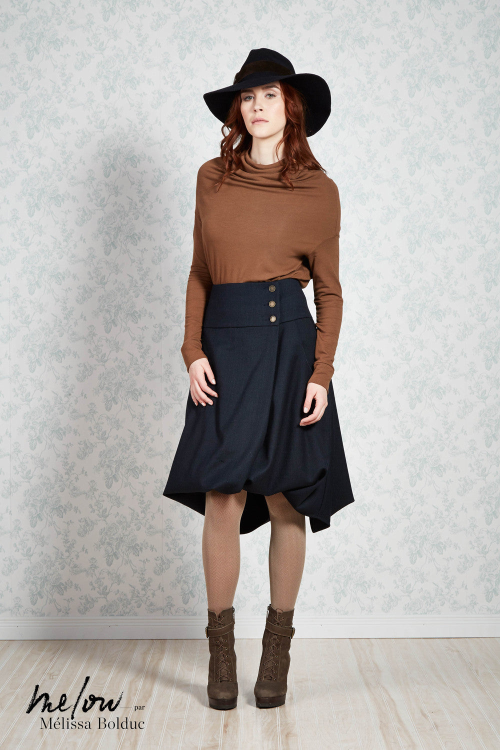 Melow par Melissa Bolduc, Sarah Wool , wrap around,  bubble skirt in Black. Made in Montreal