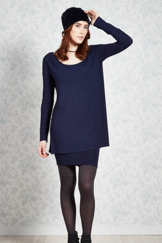 Stephanie tunic, melow, made in montreal, indigo knit