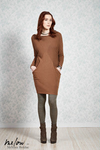 Suzette dress, melow, made in montreal, knit, long-sleeved dress