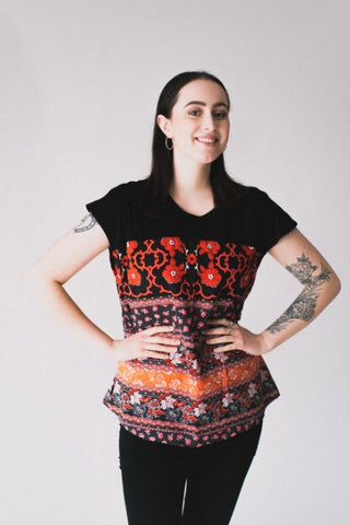 EMK Ophelia Top in Red/Black Floral FW2020/2021 (front view)