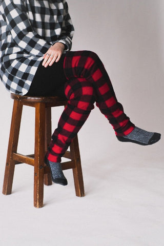 EMK Hazel Leg Warmers in Red Plaid FW2020/2021