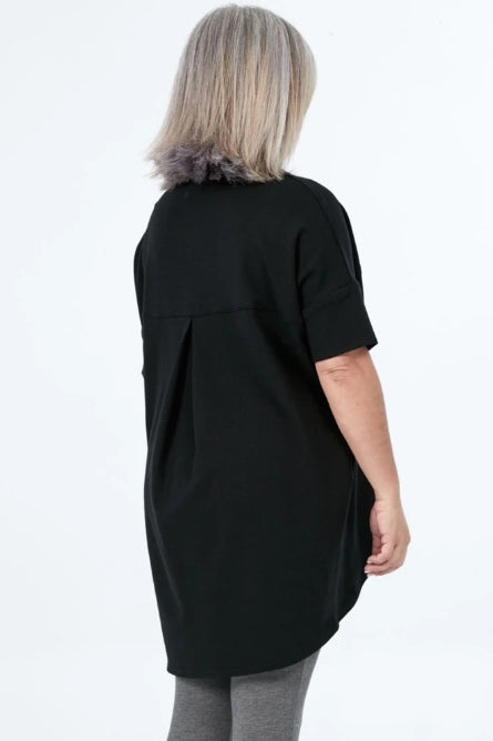 ADVIKA Slouchy Short Sleeve Tunic in Black (rear view) FW2020/2021