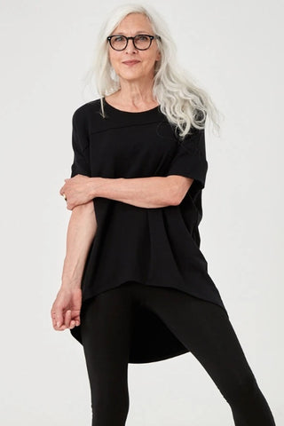 ADVIKA Slouchy Short Sleeve Tunic in Black (front view) FW2020/2021
