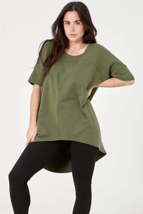ADVIKA Slouchy Short Sleeve Tunic in Forest Green (front view) FW2020/2021
