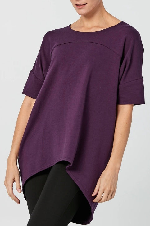 ADVIKA Slouchy Short Sleeve Tunic in Plum (front view) FW2020/2021