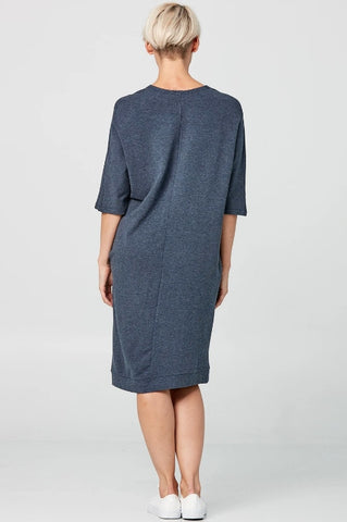 ADVIKA Alyse Dress in Blue (full-length, rear view) FW2020/2021