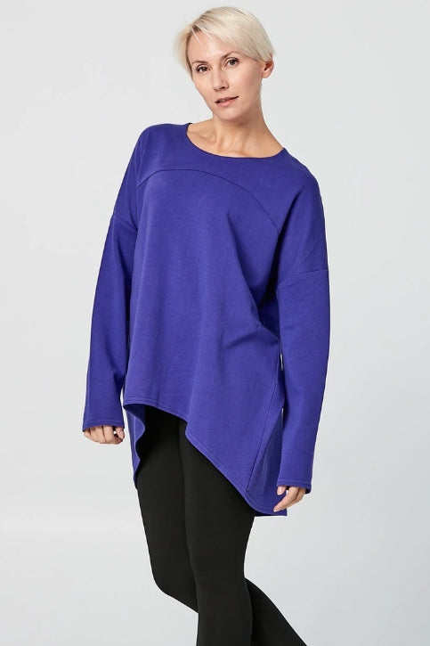 ADVIKA Slouchy Long Sleeved Tunic in Purple (front view) FW2020/2021