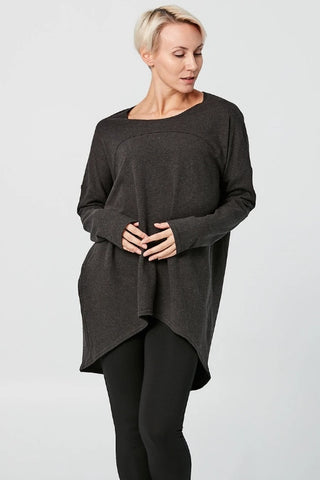 ADVIKA Slouchy Long Sleeved Tunic in Charcoal (front view) FW2020/2021