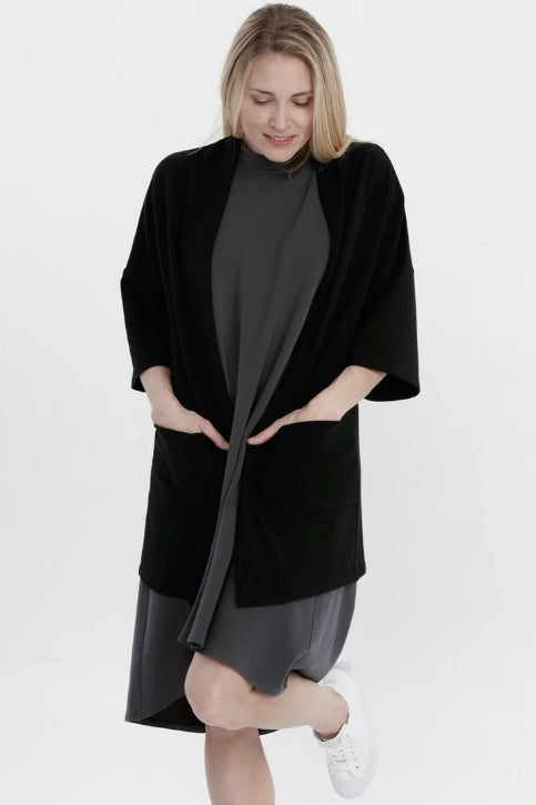 ADVIKA Joanne Cardigan in Black (front view, styled) FW2020/2021