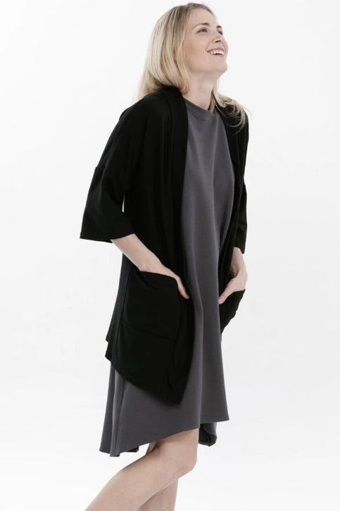 ADVIKA Joanne Cardigan in Black (side view, styled) FW2020/2021