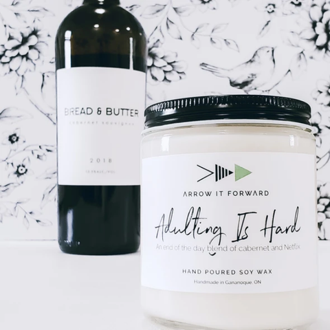Adulting Is Hard candle by Arrow It Forward in a reusable glass jar